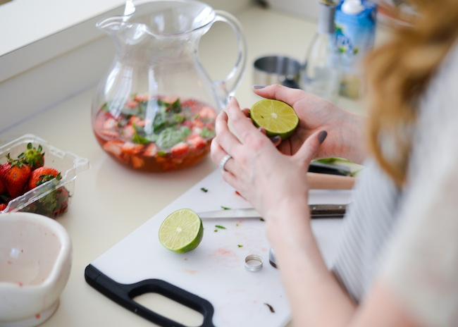 Lime! Coconut Water + Muddled Strawberry Cocktail by Fashionable Hostess