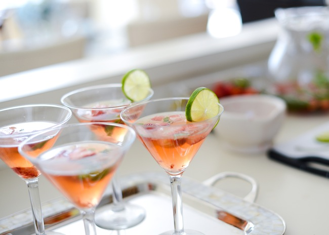 Add Lime Wedges - Coconut Water + Muddled Strawberry Cocktail by Fashionable Hostess