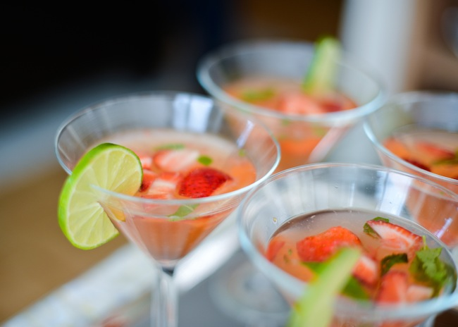 Enjoy! Coconut Water + Muddled Strawberry Cocktail by Fashionable Hostess