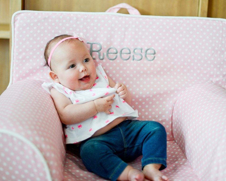 polka dot pb baby chair