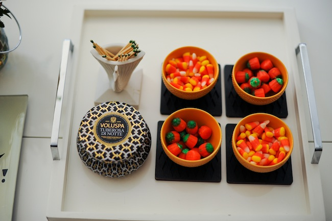 West Elm White Lacquer Tray with Halloween Candy