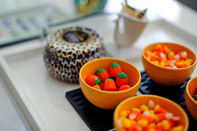 Halloween Candy Treats in orange bowls