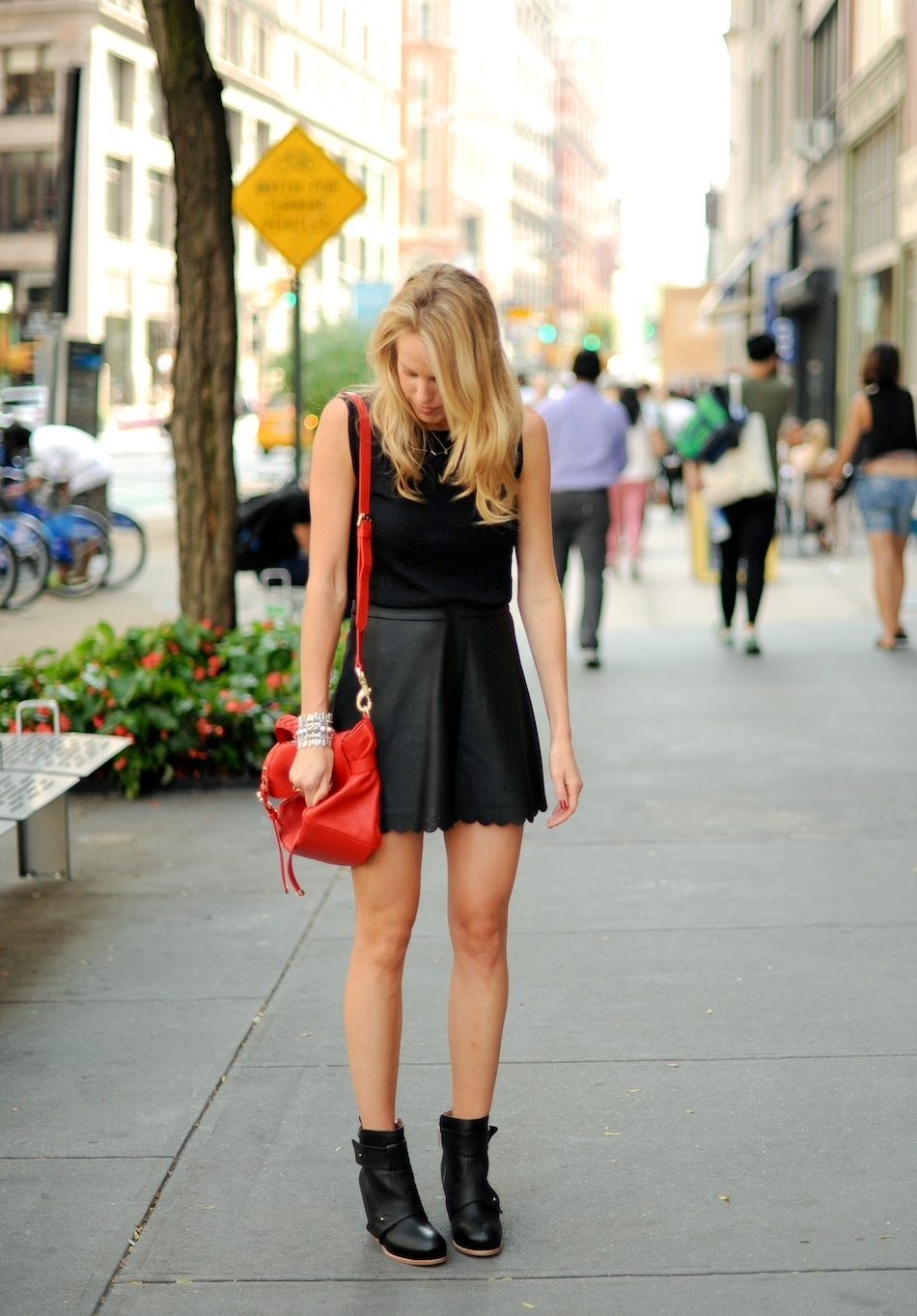 Leather Skirt Fall Look // FashionableHostess.com