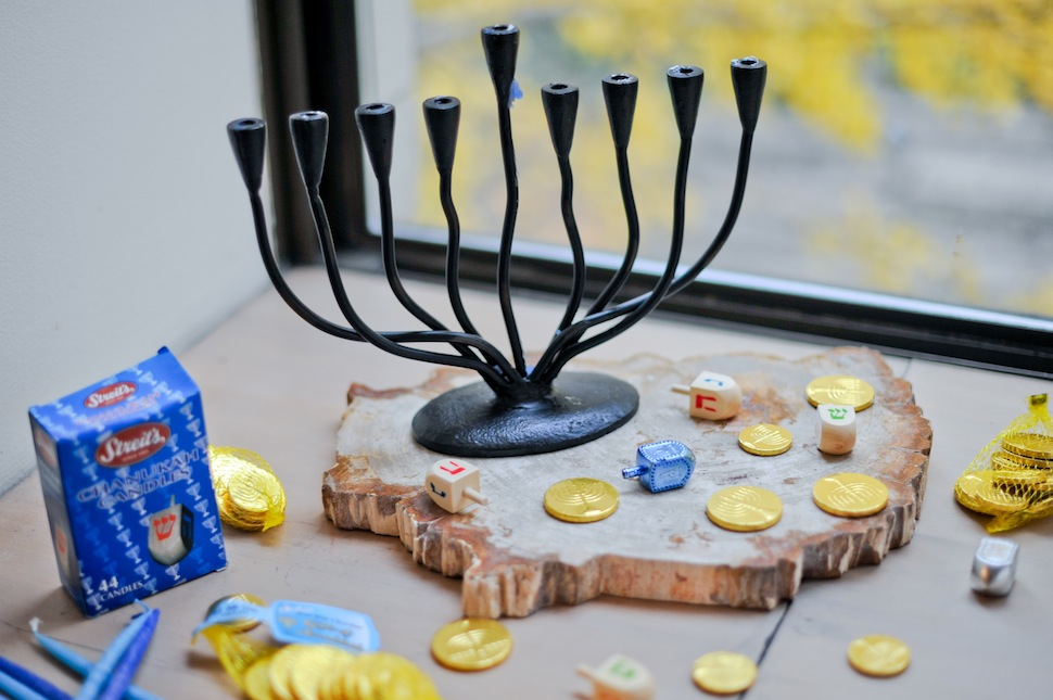Menorah and Hanukkah Gelt