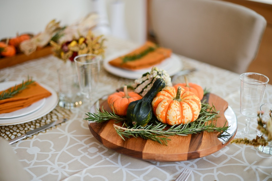 Pumpkins, Squash, and Gourds centerpiece // FashionableHostess.com