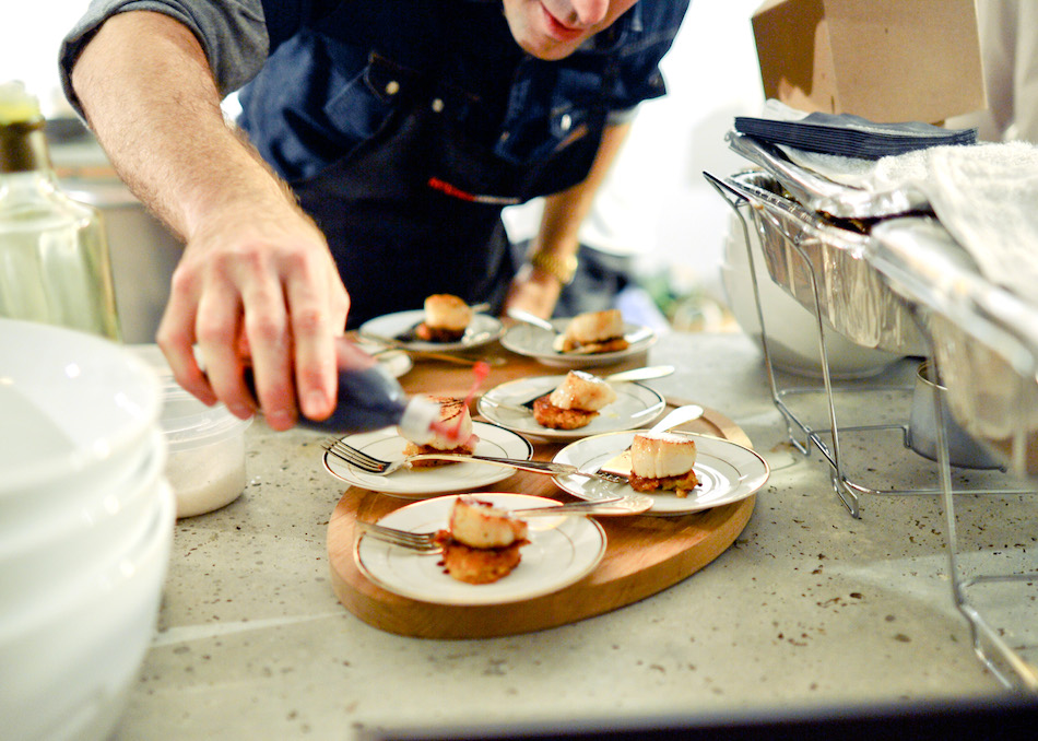 Chef Chris Lynch drizzles Pomegranate Reduction for his Seared Sea Scallop with Cauliflower Fritter // FashionableHostess.com photo credit Madeline Wolf