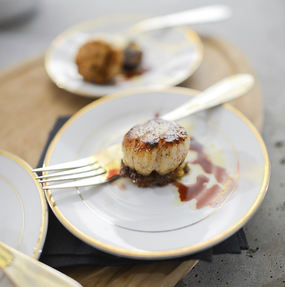 Seared Sea Scallop with Cauliflower Fritter by Chef Chris Lynch // FashionableHostess.com photo credit Madeline Wolf