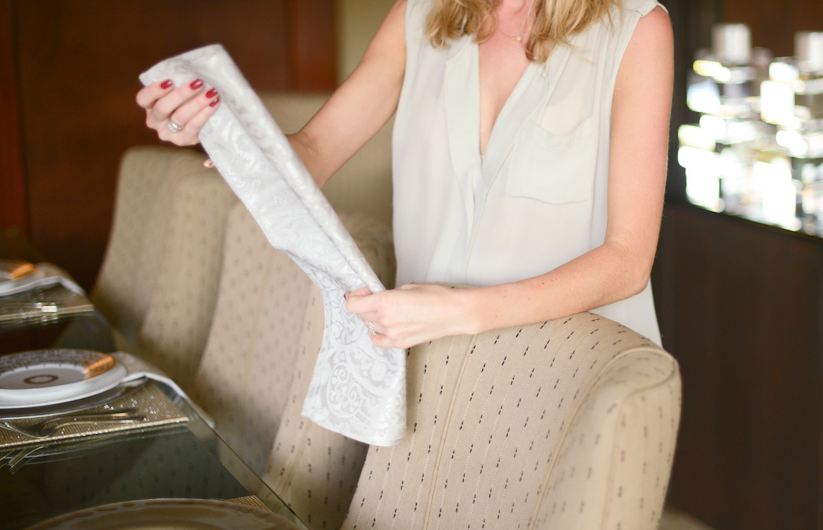 How to Fold your Dinner Napkin Step 2 // FashionableHostess.com