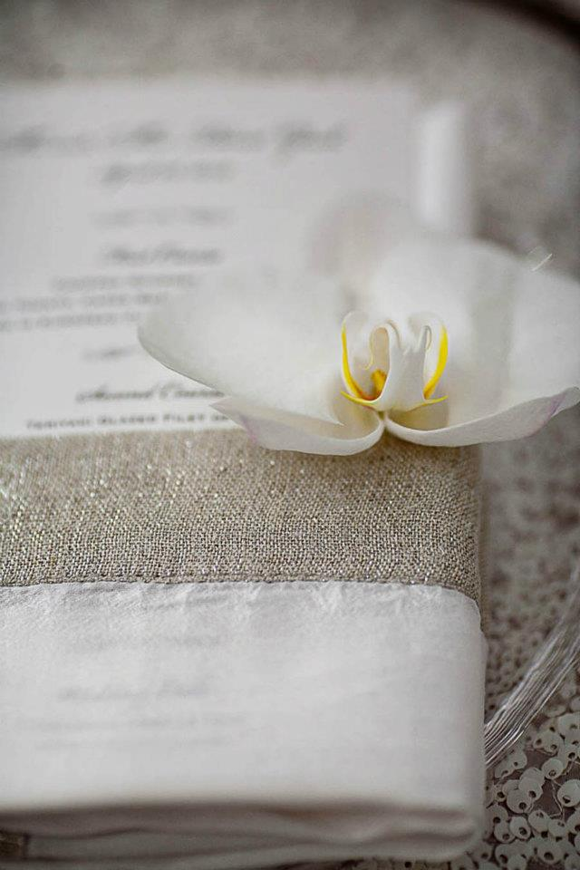 Wedding Menus - White Orchid Detail