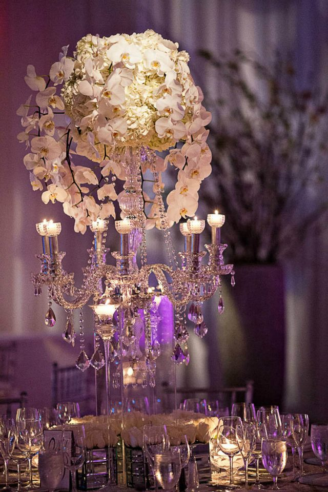 White Orchid Chandeliers Mandarin Oriental Miami Florida Wedding