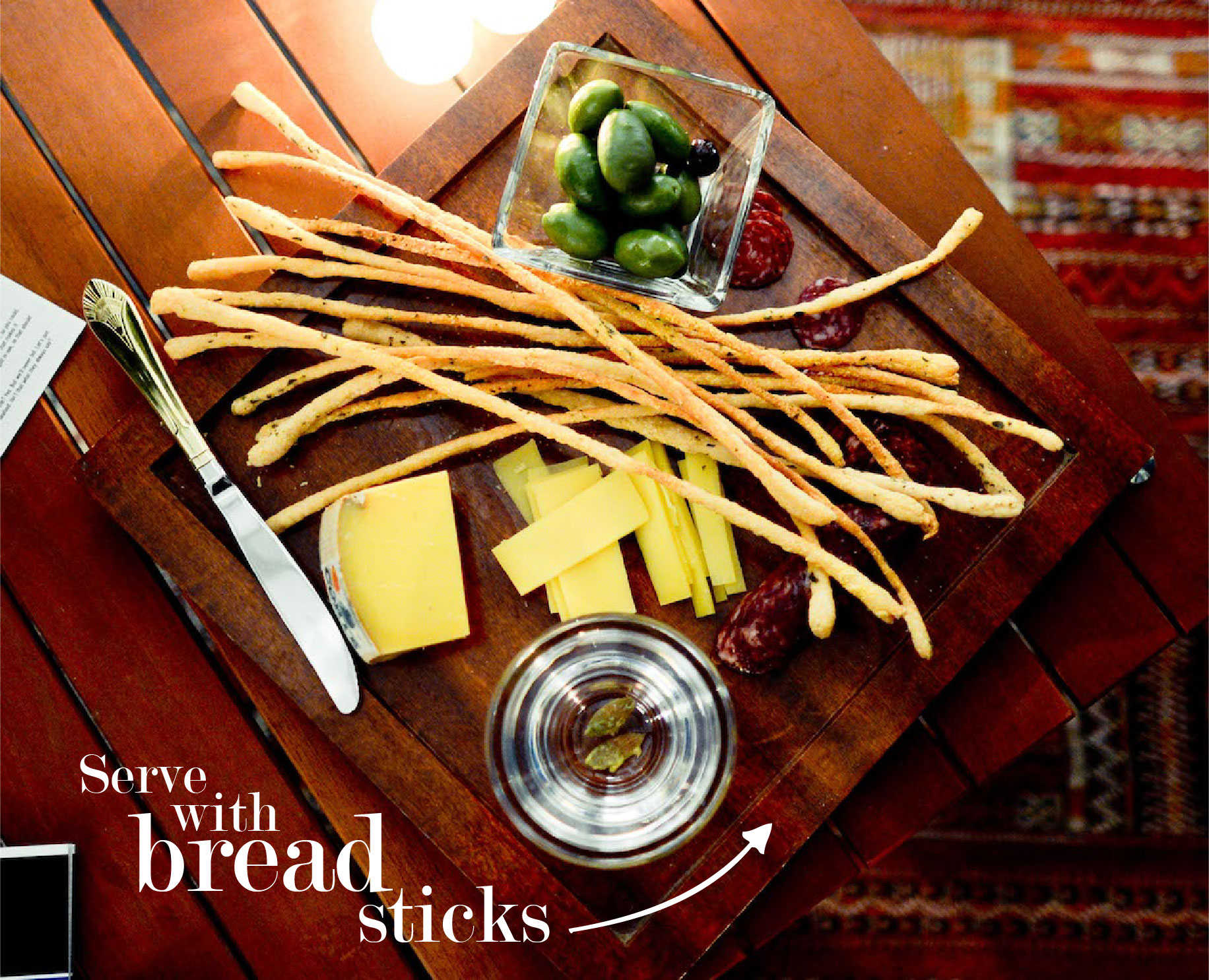 Cheese Platter with Bread Sticks // FashionableHostess.com
