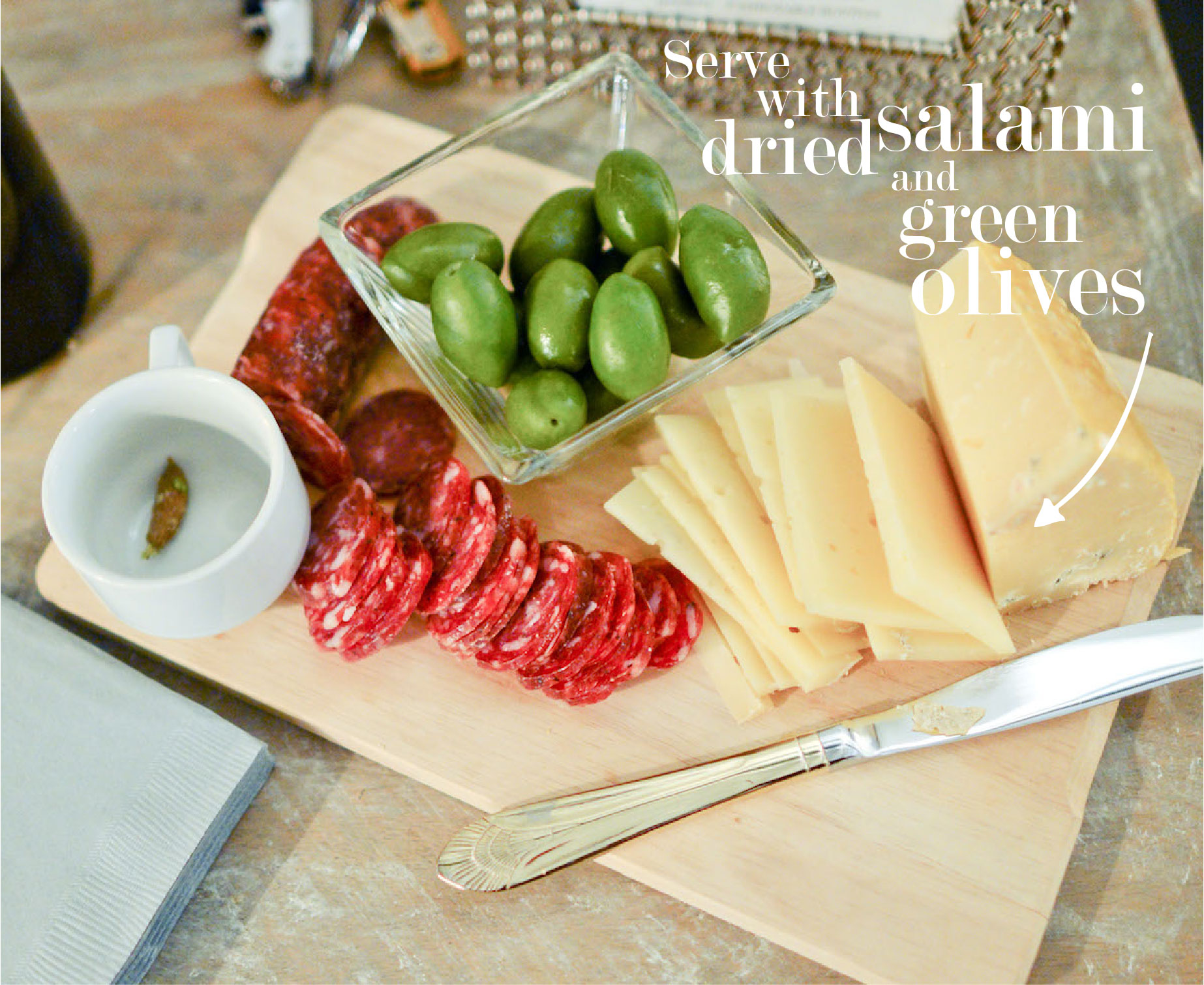 Cheese Plate with Dried Salami and Olives // FashionableHostess.com