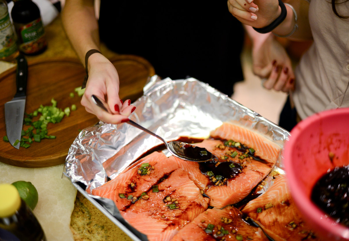 Place the Marinade on top of the Salmon