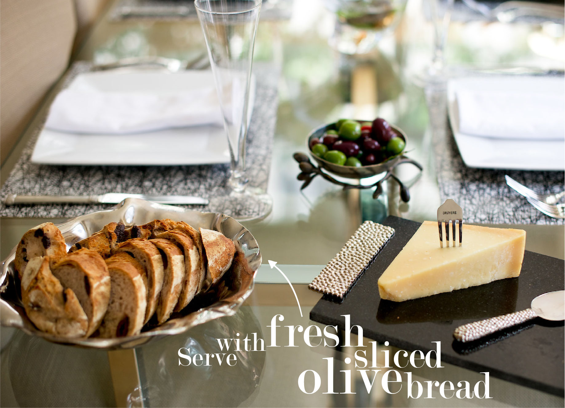 Cheese plate with Fresh Sliced Olive Bread // FashionableHostess.com
