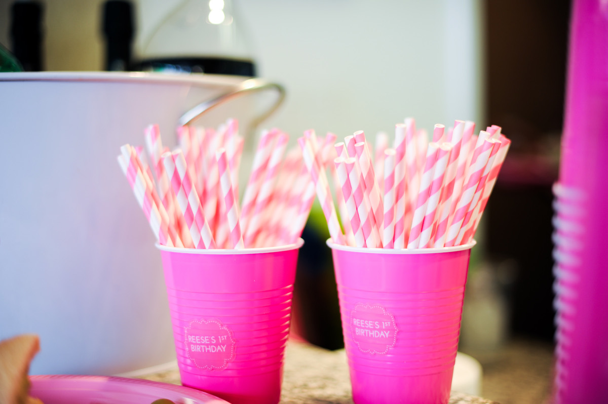 Striped Pink and White Straws