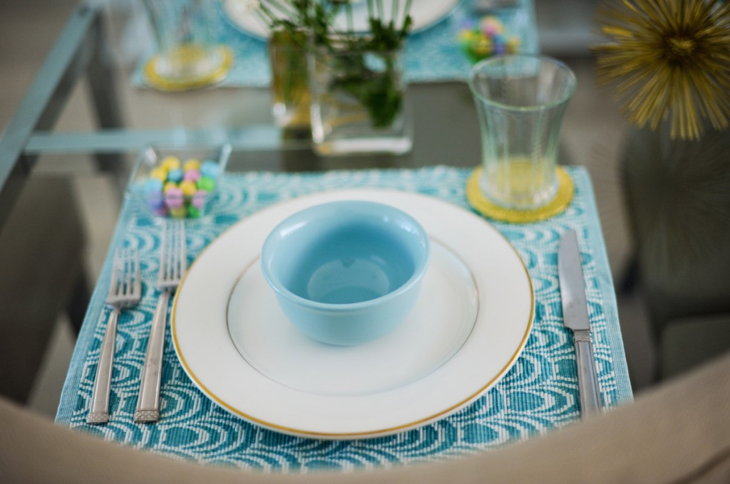 Blue Placemats, Pastel Table, Pastel M&Ms