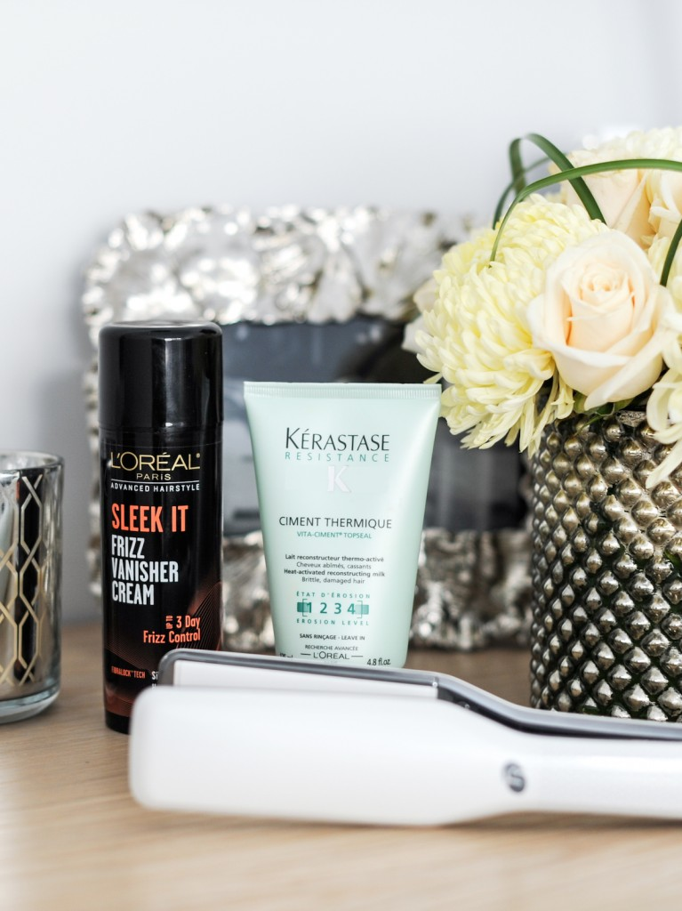 T3 SinglePass X Straightening Iron,  L'Oreal Paris Advanced Hairstyle Sleek It Frizz Vanisher Cream, Kerastase Resistance Ciment Thermique // FashionableHostess.com