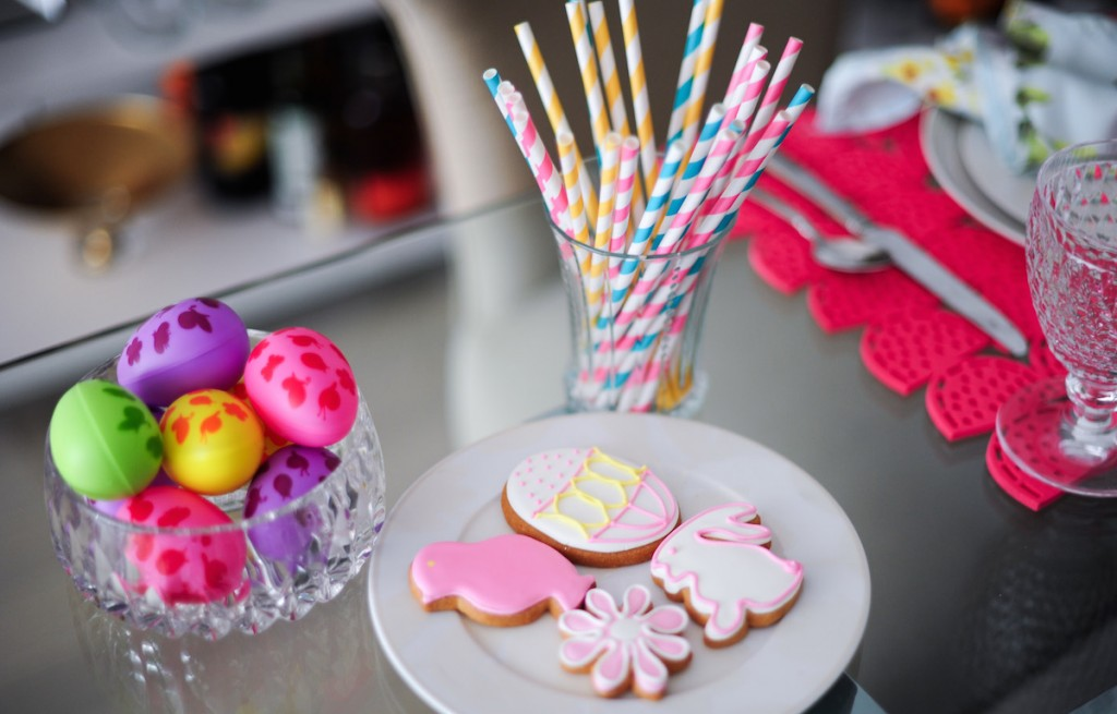 Easter eggs, striped straws, easter candy