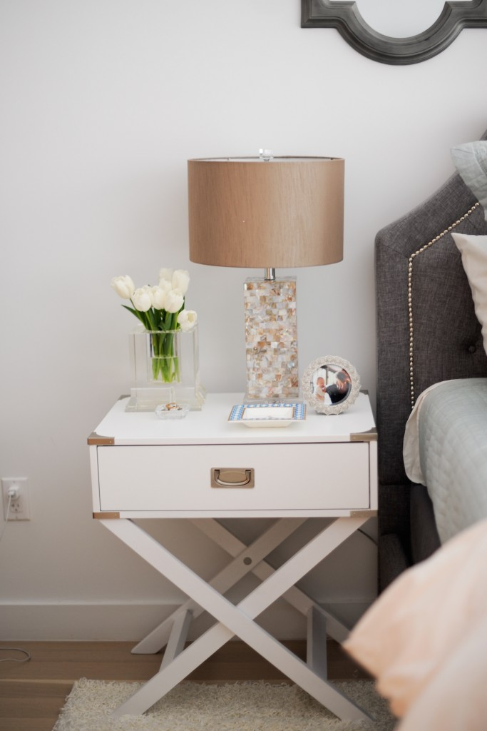 Olivia Riegel picture frame, C.Wonder Monogram Geo Plate, Waterford Crystal Lismore Square Ring Holder. Inspire Q Neo White Accent Table with X Leg Nightstand, Marshalls Lamps, Crystal Vase, C Wonder Geo Plate, Waterford Swarovski Ring Stand, How to style a nightstand