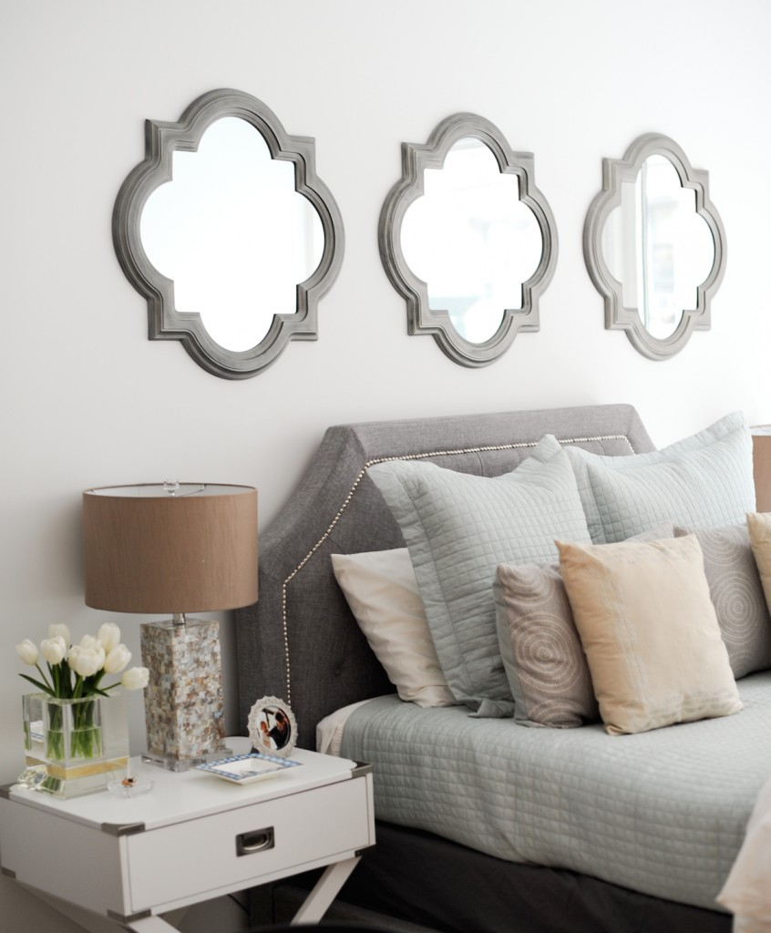 Grey Clover Mirrors, Gray Quatrefoil Mirrors