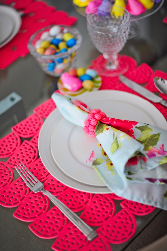 Easter table, kim seybert napkin rings dayglow, watermelon placemats, easter candy