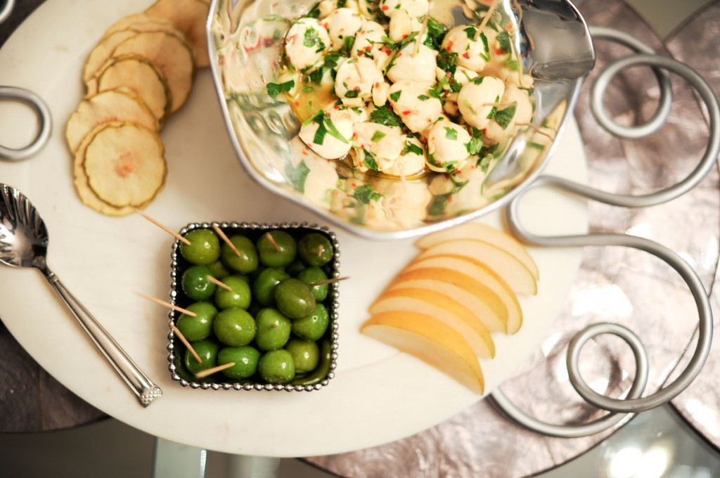 Michael Aram Molten Bowls, Crate & barrel Tray, Simply and Crisp, Asian Pear, Summer Cheese, Mozzarella Balls, Green Olives, Cheese Platter
