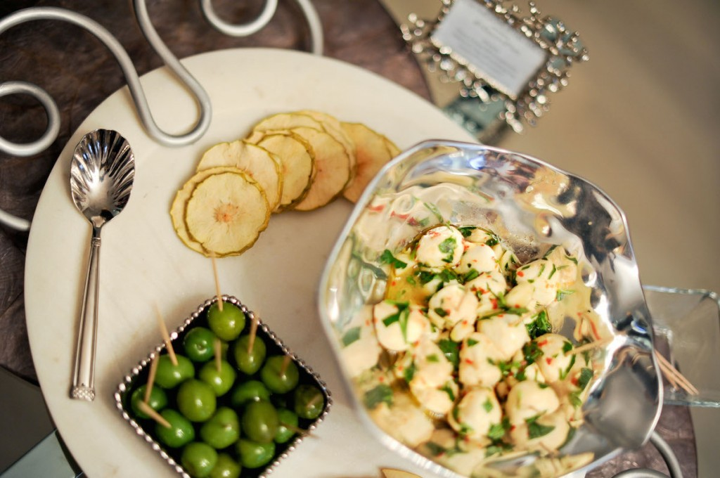 Mozzarella Balls, Green Olives, and Simple & Crisps Platter // FashionableHostess.com