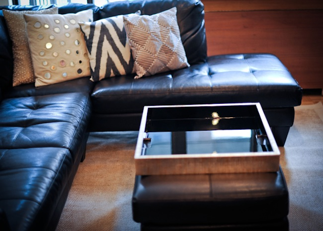 Leather couch adn lacquer tray