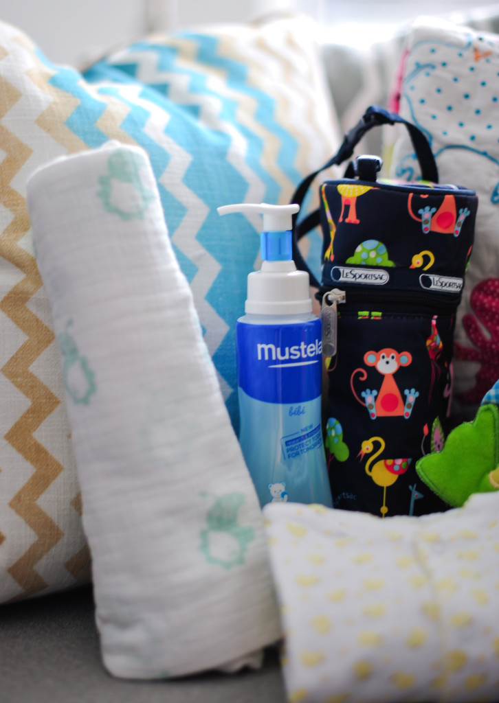 LeSportSace Bottle Pouch, Mustela Lotion, Aden + Anais Swaddle Blanket