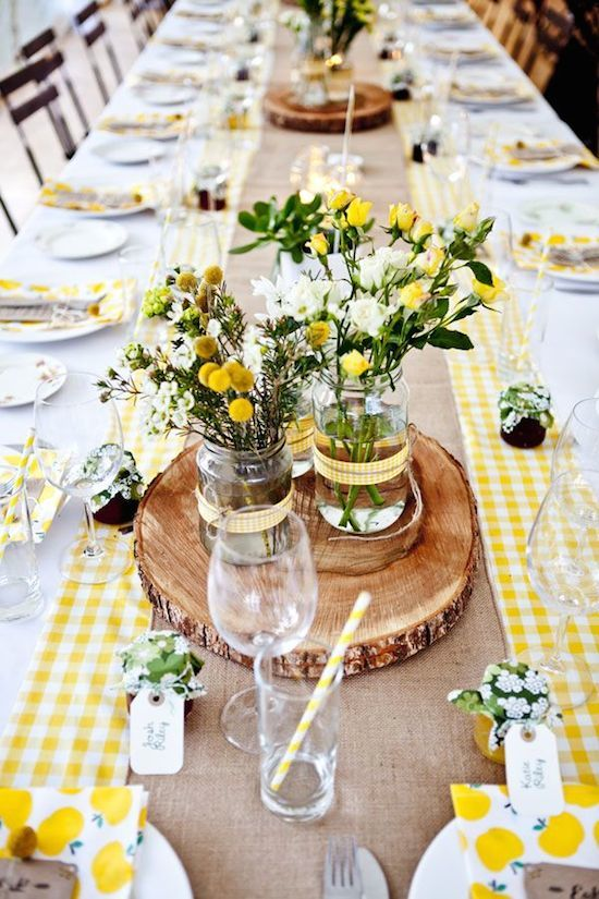 Summer Time Picnic with Yellow Checkered Table cloth