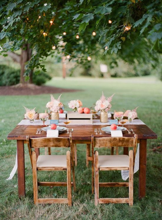 Wooden Table Outdoor Tablesetting