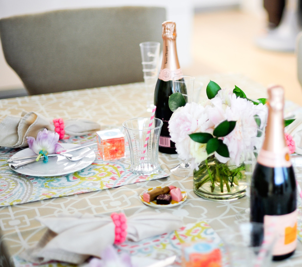 Host a champagne and peonies summer party