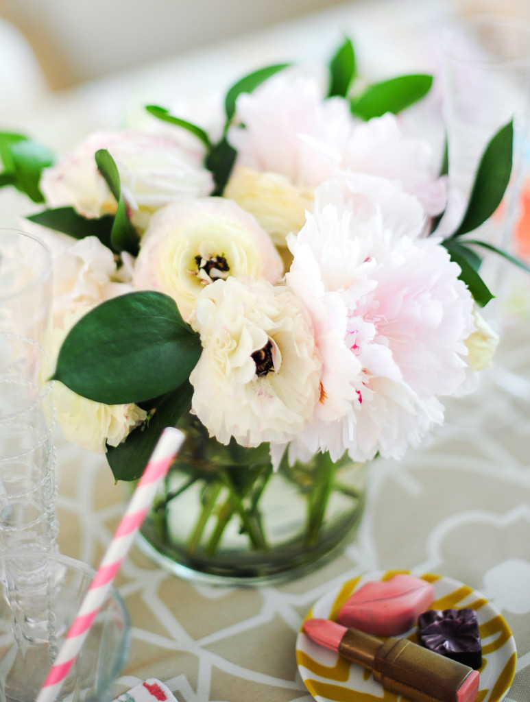 Peonies and ranunculus floral arrangement