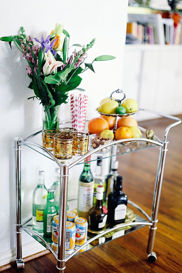 Silver Sleek Modern Bar Cart