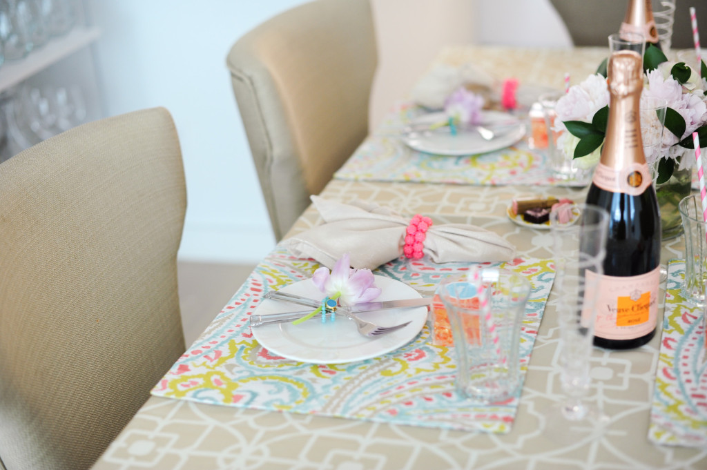 Spring table setting  - floral placemats, Kim seybert napkin rings