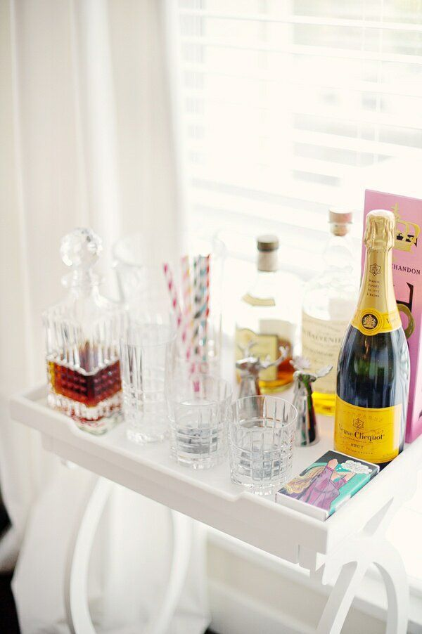 White Bar Cart and Accessories for Party