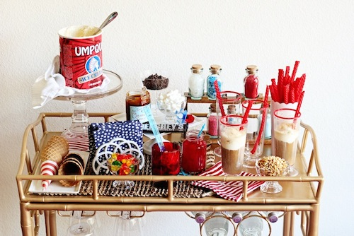 fourth of july bar cart decoration