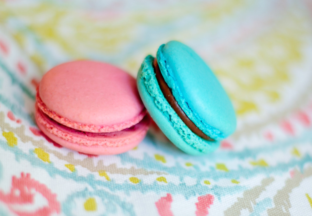 pink and blue macarons
