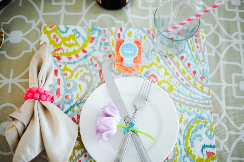 pink pastel place setting
