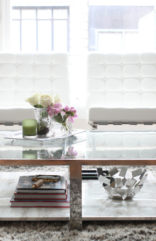 Steel and Marble Coffee Table, Barcelona Chairs, Fashionable Hostess Apartment