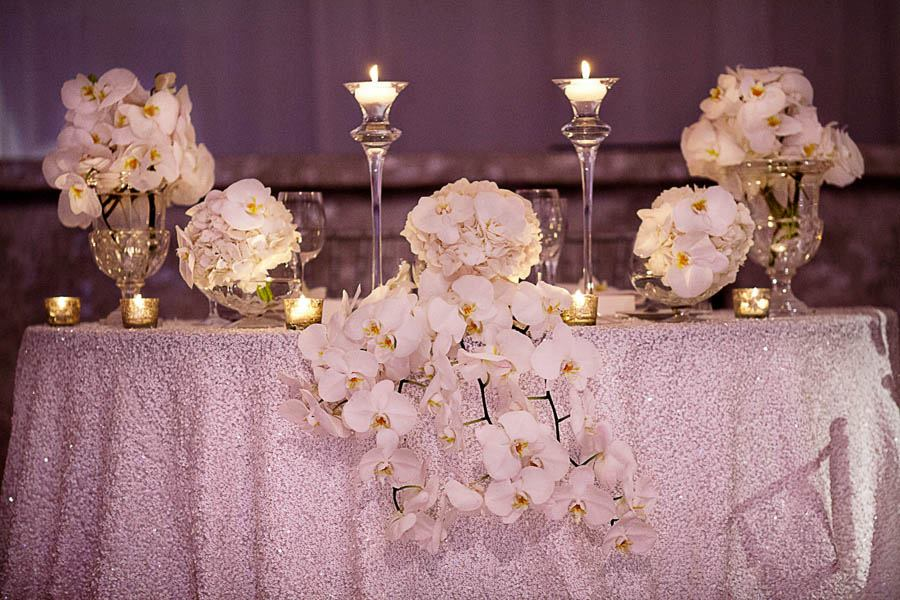 white orchid wedding sweetheart table