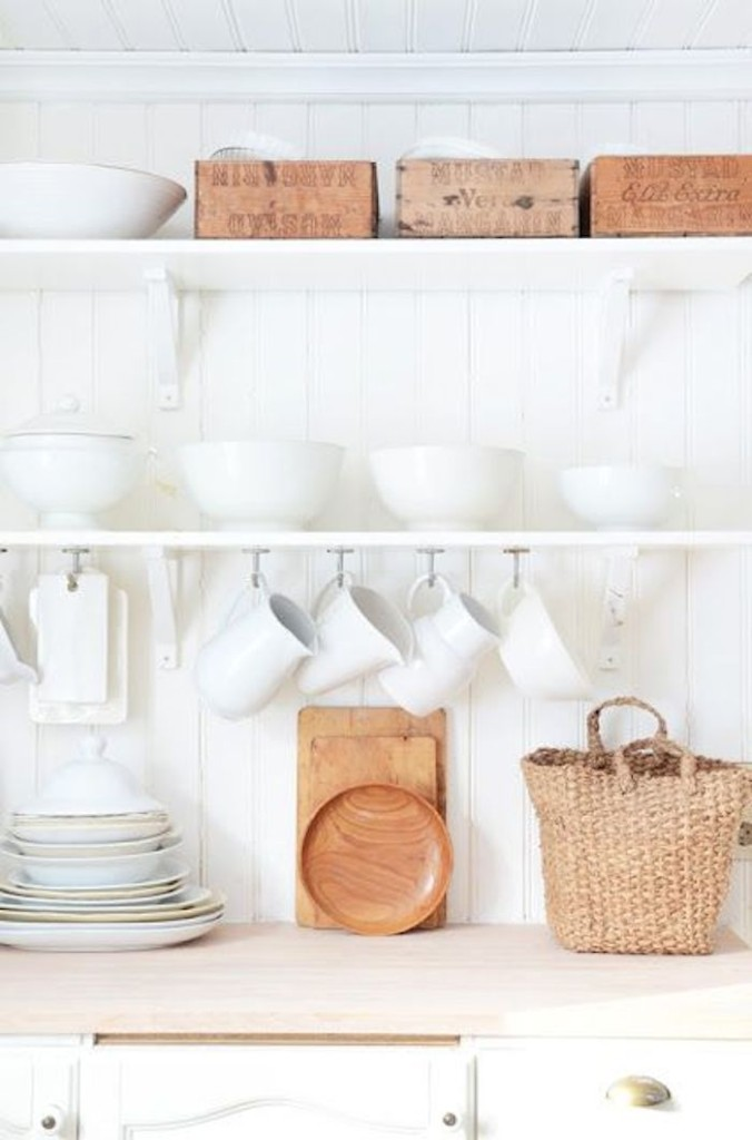 open shelves with hanging coffee mugs - extra kitchen storage ideas
