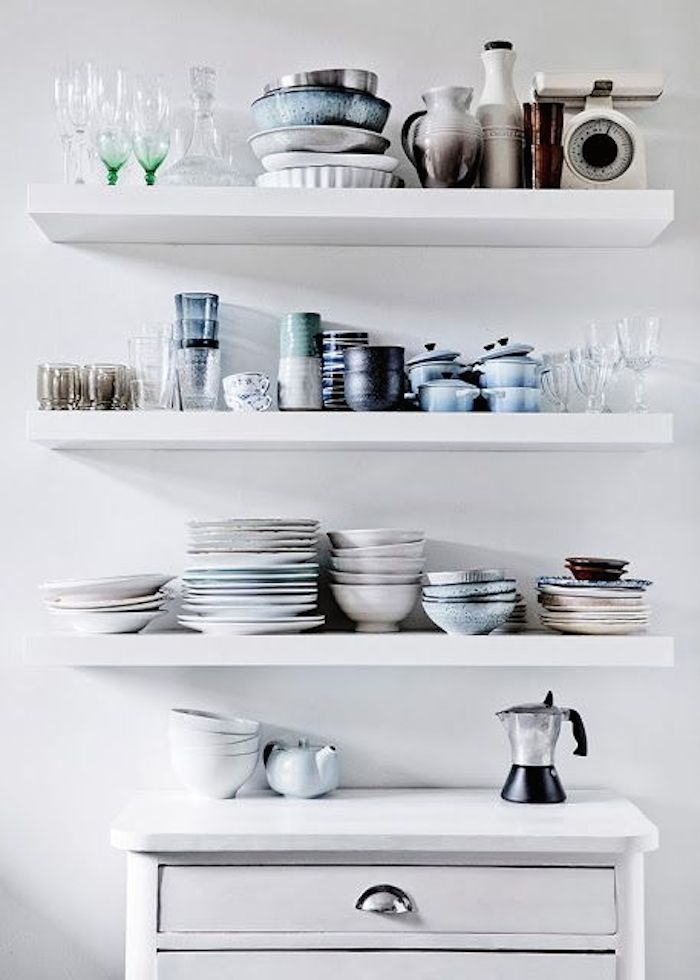 DIY White Floating Shelves For Kitchen