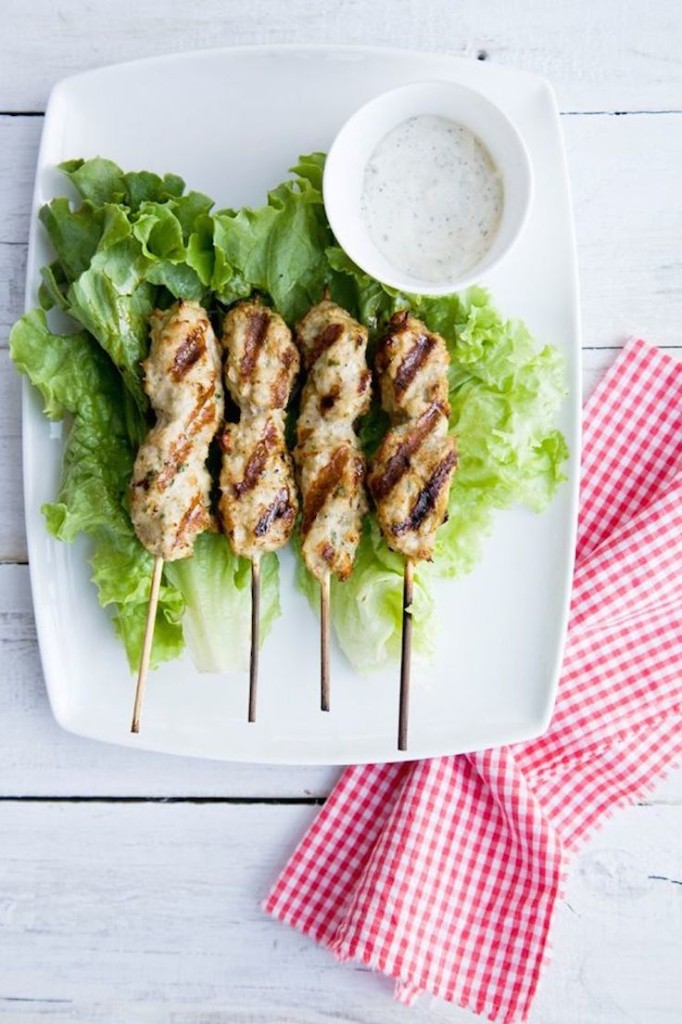 Chicken skewers with dip