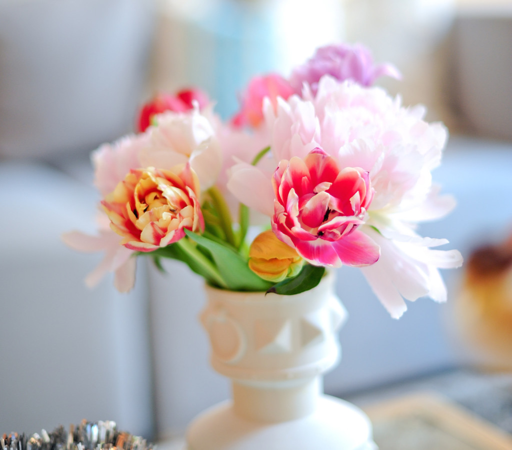 Colorful peonies make for a fun and easy centerpiece arrangement and birthday party idea