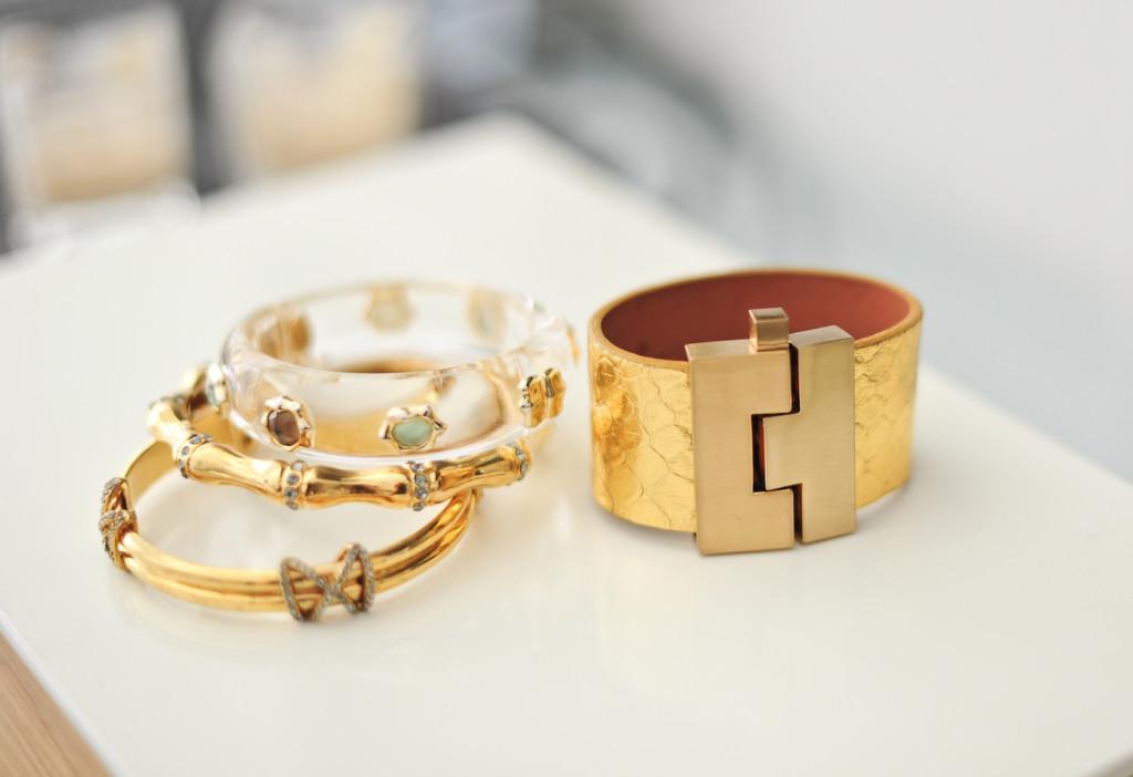 Gold Bangles: Leighelena Cuff, Alexis Bittar Cuff, Elaine Turner Bracelets
