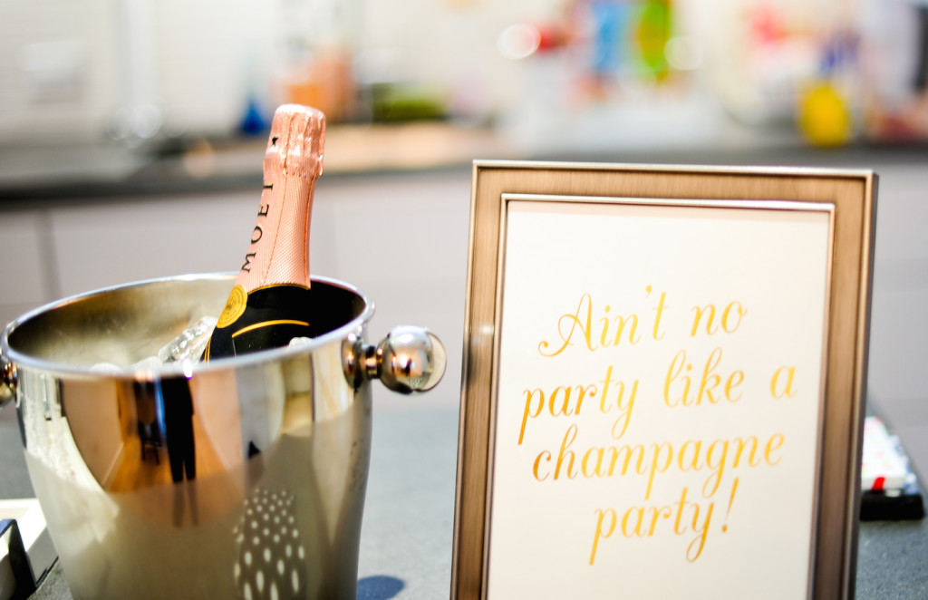 """Ain't No Party Like a Champagne Party"" Photo Op - Moet Champagne on Ice in Silver Bucket"