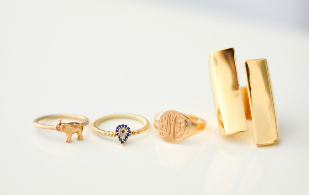 Elephant Ring, Evil Eye Ring, Monogram Ring, Club Monaco Gold Ring