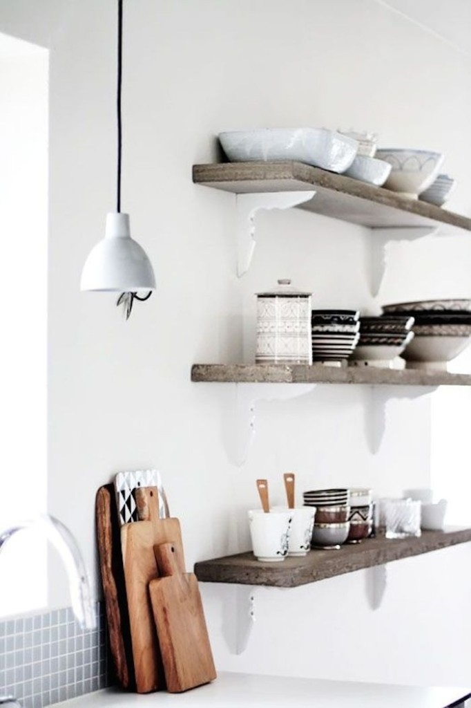 wooden floating shelves for modern kitchen