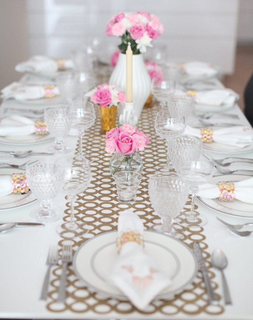 PInk White and Gold Tabletop Display